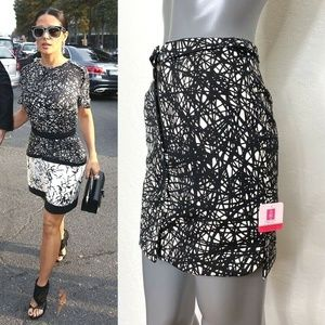 Balenciaga A-Line Mini Skirt Black White Print 6